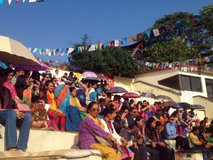 Audiences at the Rangamanch open-air-theater